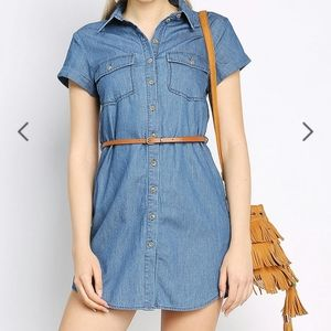 EUC Papaya denim look shirt dress